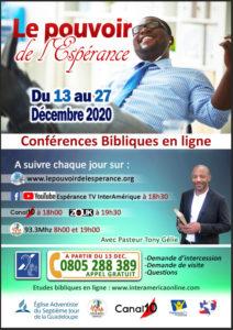 Conférences Bibliques en Ligne du 13 au 27 Décembre 2020